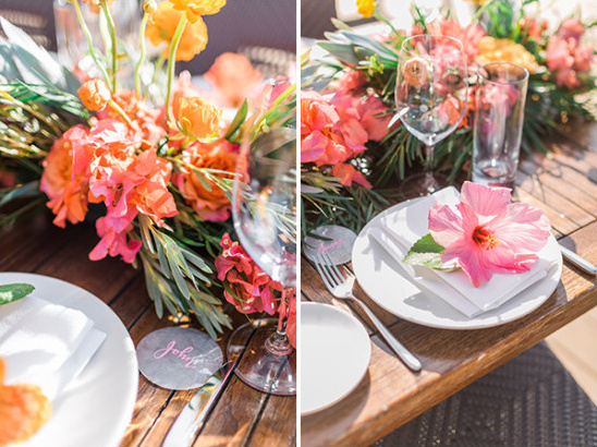 hawaiian wedding table decor