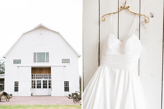 white barn and wedding dress