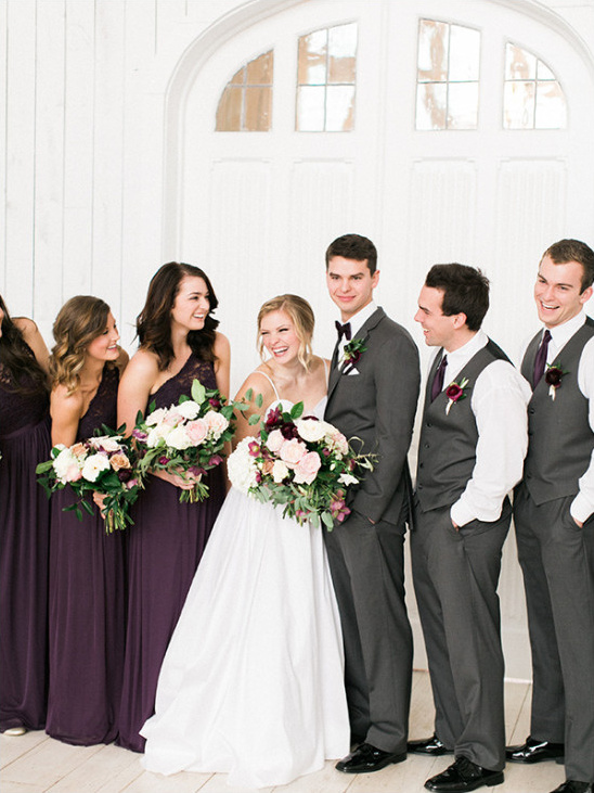 purple and grey wedding party