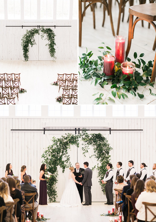 white barn wedding ceremony