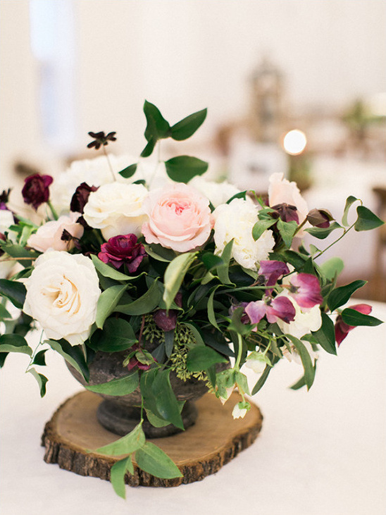 purple pink and white centerpiece