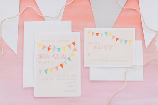 Wedding invitation suite with banners