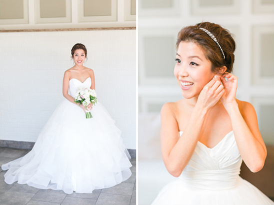 Strapless bridal gown and hair details