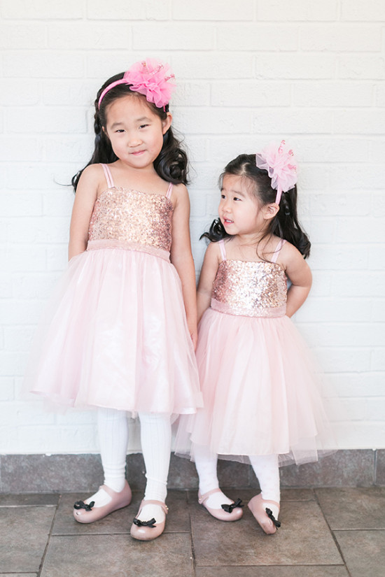 Pink sequin flower girl dresses with pink headbands