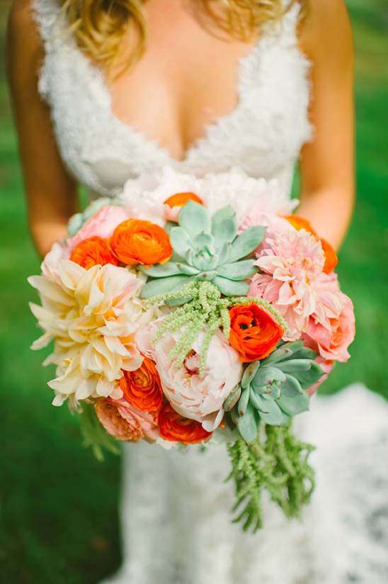 big bloom wedding bouquet with succulent