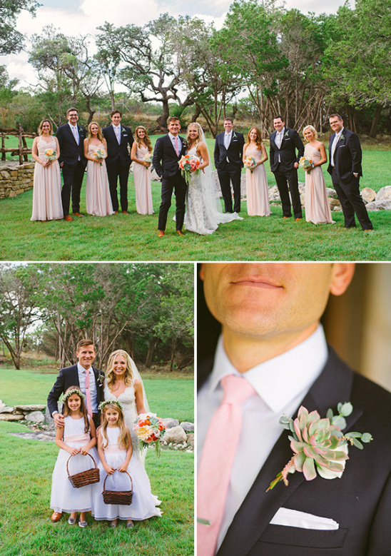 wedding party with succulent boutonnieres
