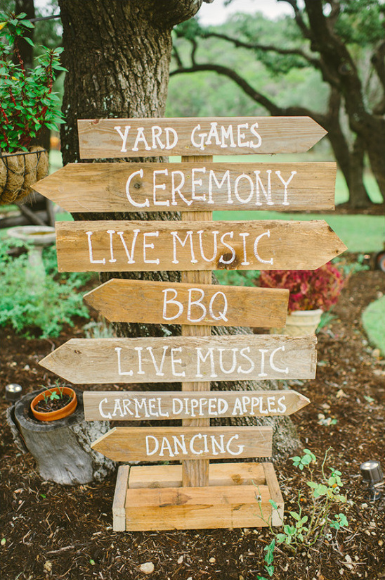 wood wedding directions sign