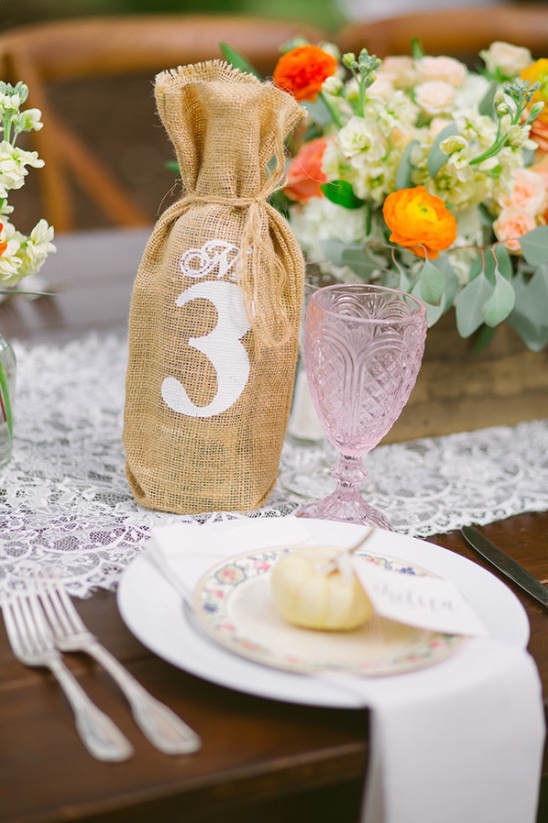 burlap covered bottle table number