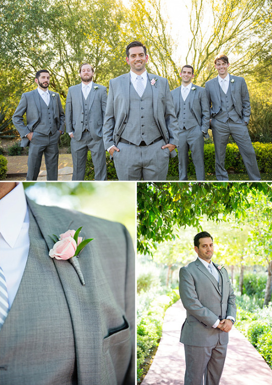 grey and white groom look