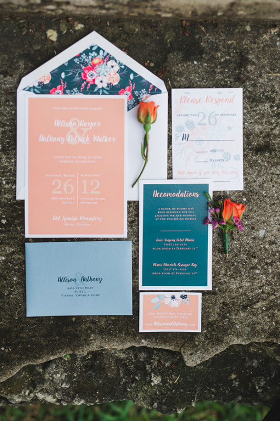 Peach and blue wedding invitation suite