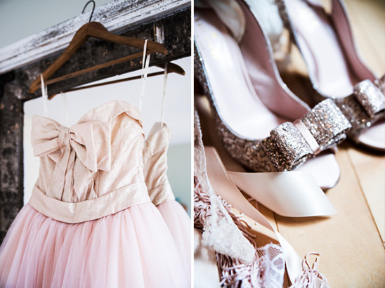 pink and glitter wedding accessories