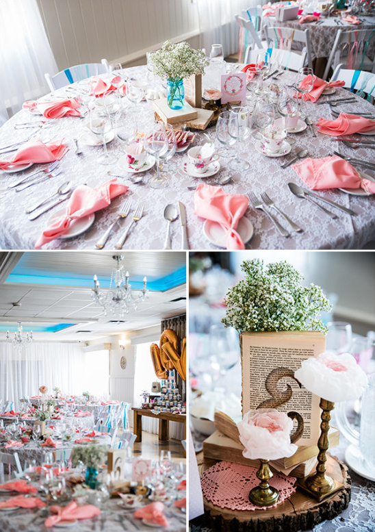 pink and blue tea party table decor