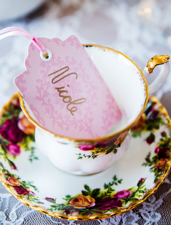 tea cup name card