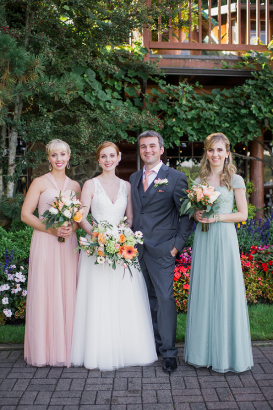 pink and green wedding party