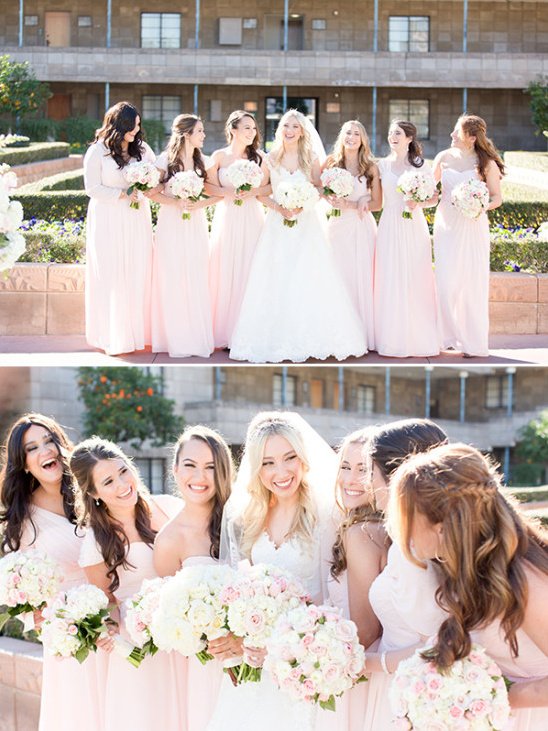 Bridesmaids in long pink dresses