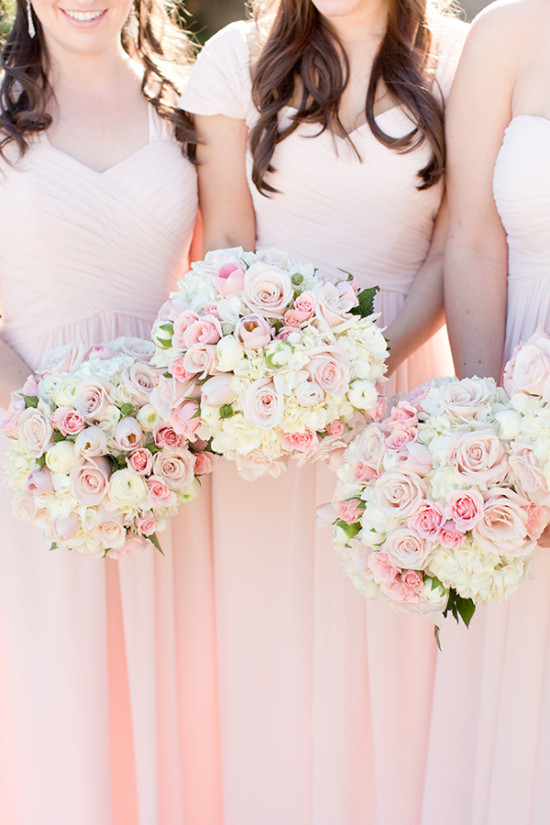 Bridesmaid bouquets in pink and white