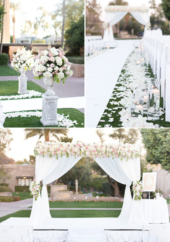 White and pink ceremony decor