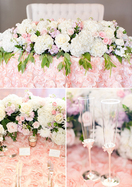 Pink and white sweetheart table details