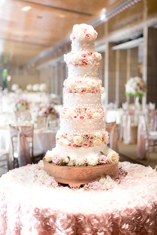 Five tier pink and white wedding cake