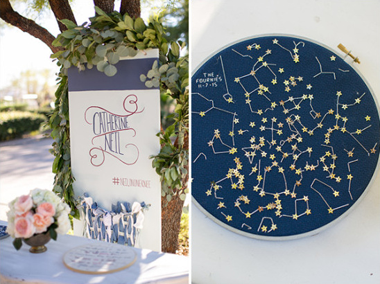 constellation cross stitching and welcome table