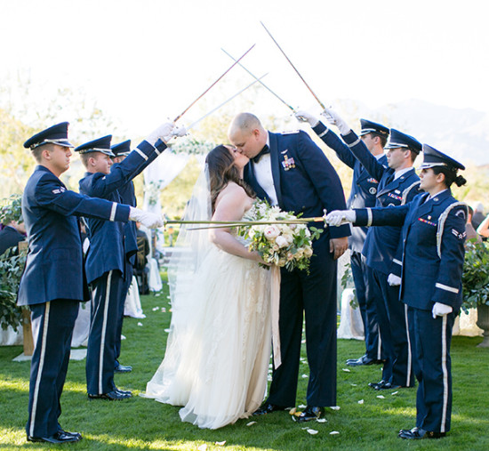 military wedding exit
