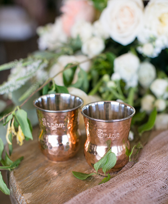 bride and groom copper mugs