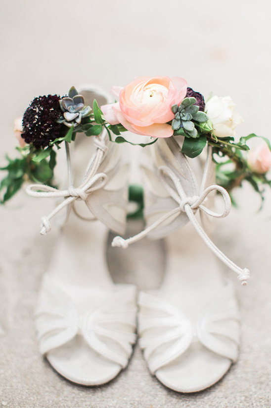 White wedding shoes and floral crown