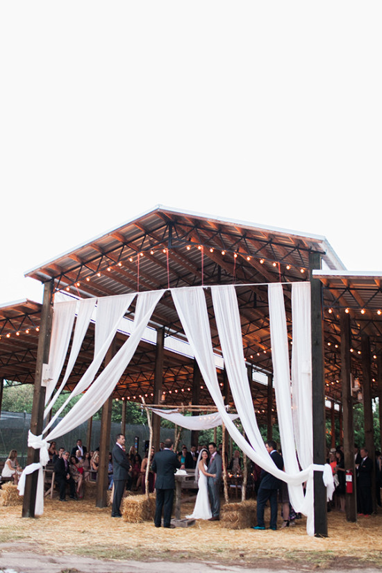 Barn ceremony idea with draping fabric
