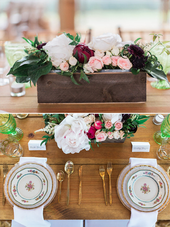Sweetheart place setting with vintage dishes