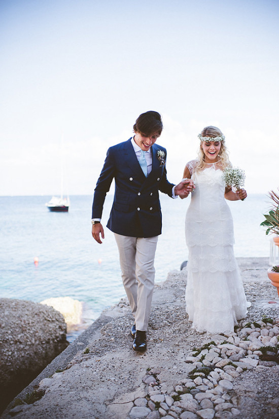 Italian coast shabby chic wedding
