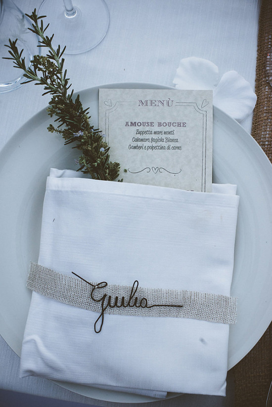 Wedding place setting idea