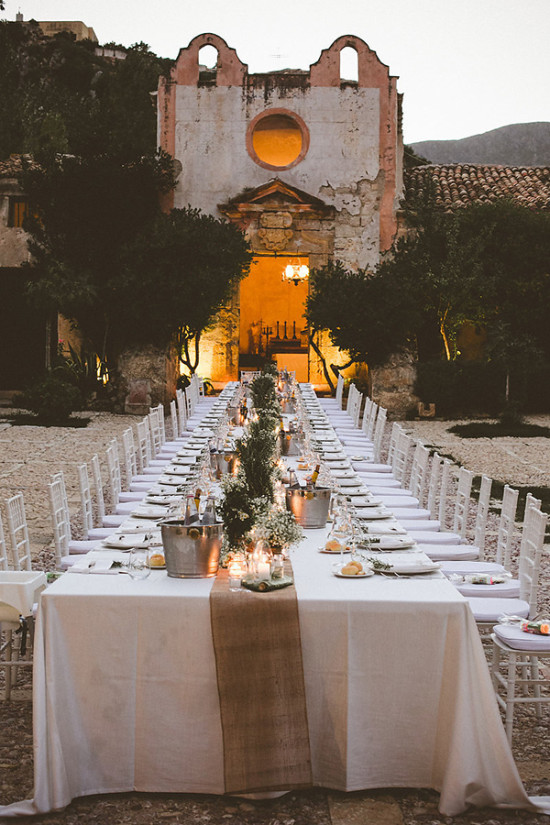 Candle lit outdoor reception