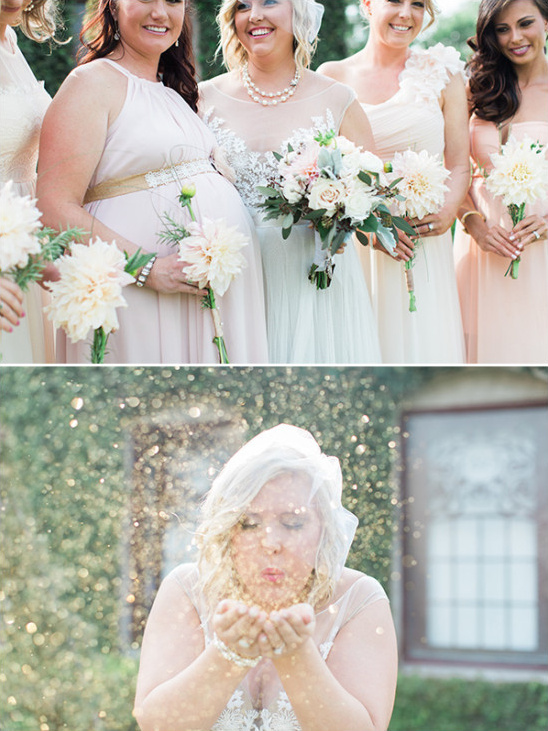bridesmaids bouquets and gold glitter