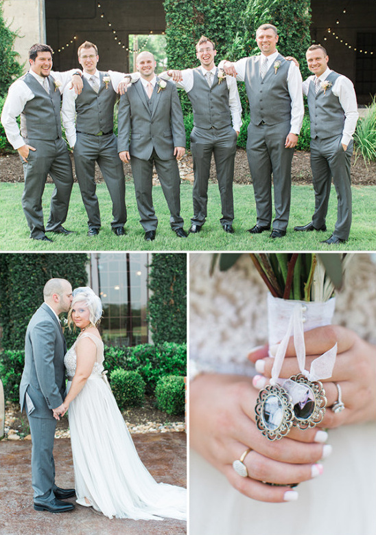 grey groomsmen and bouquet charm