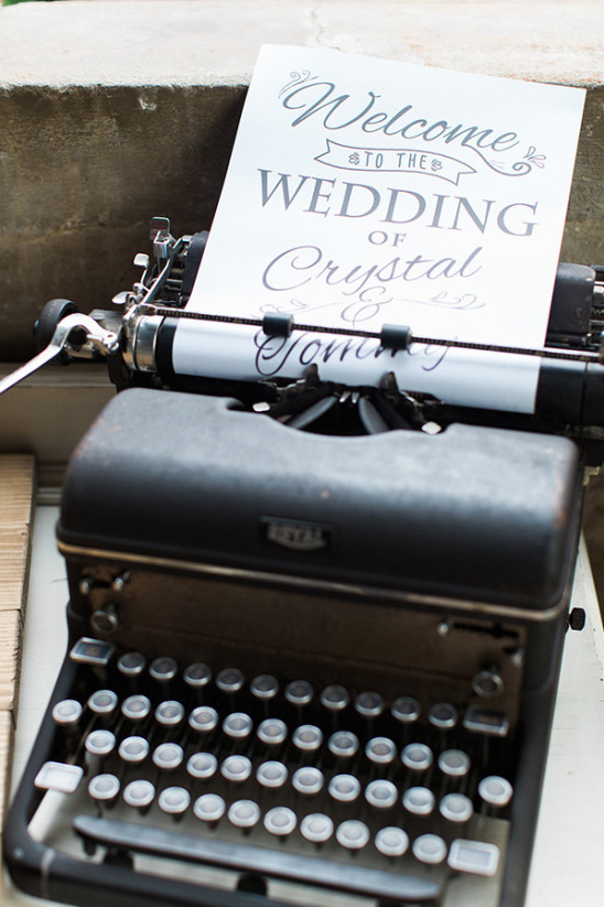 type writer wedding sign