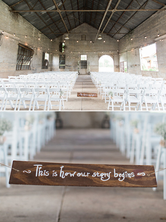 industrial wedding ceremony setup