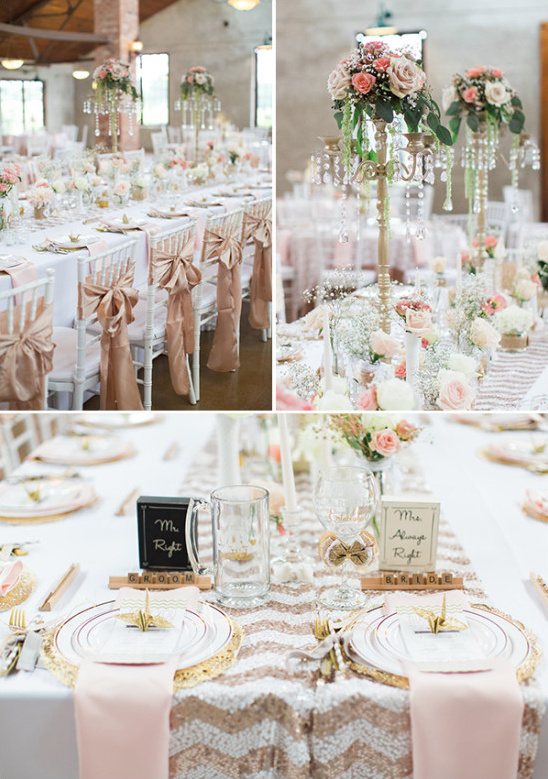 pink gold and white chevron reception
