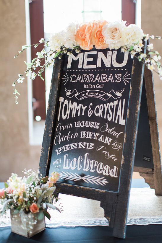 chalkboard easel wedding menu sign