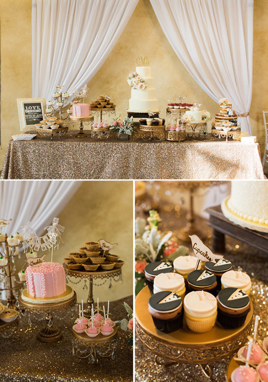 tuxedo cupcakes wedding dessert table