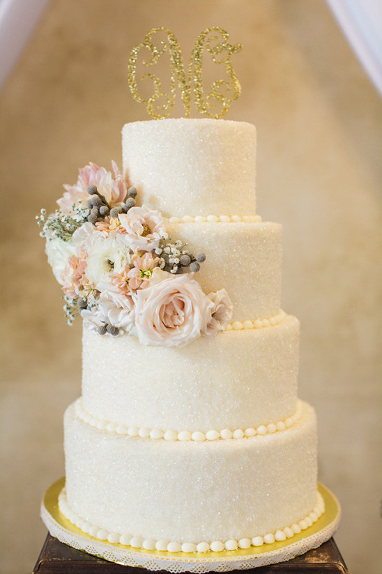 white glittering wedding cake