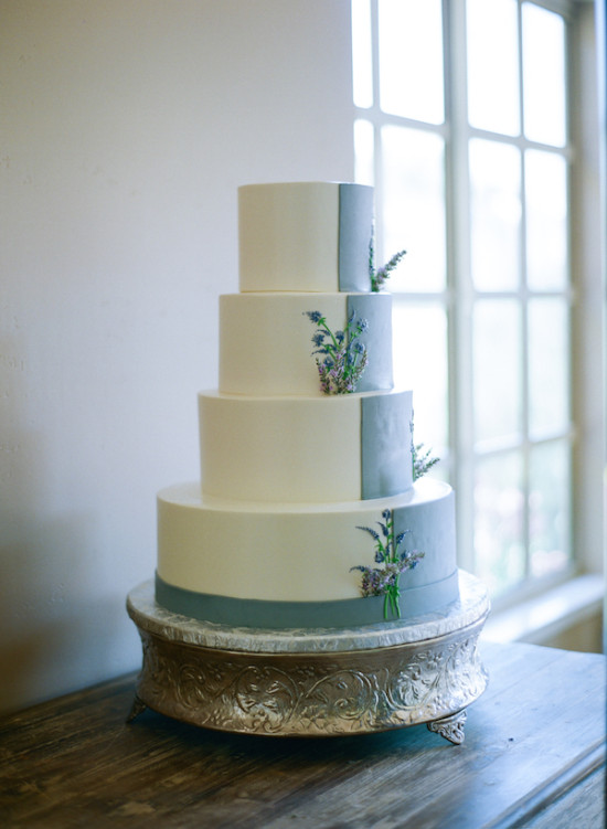 lavendar color block wedding cake