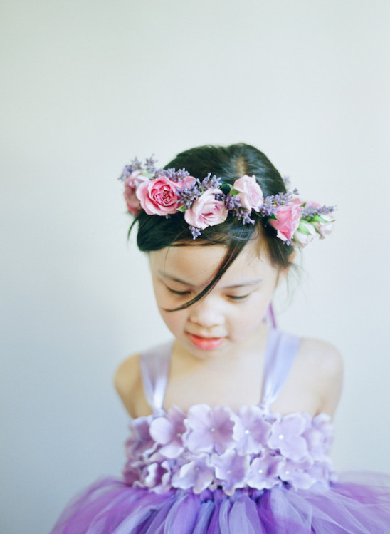 purple flower girl with pink and purple flower halo