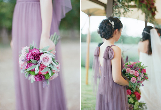 purple bridesmaid with purple and pink bouquet
