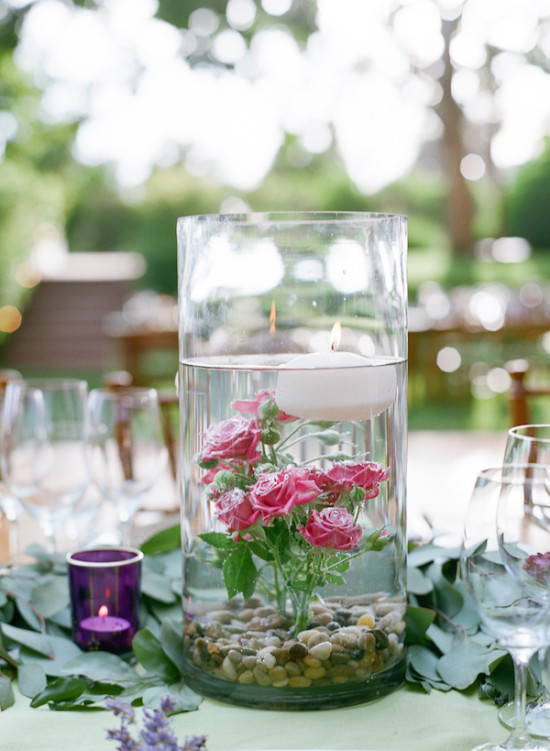 floating candle and rose centerpiece