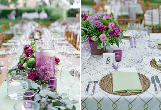 purple and green garden themed reception decor