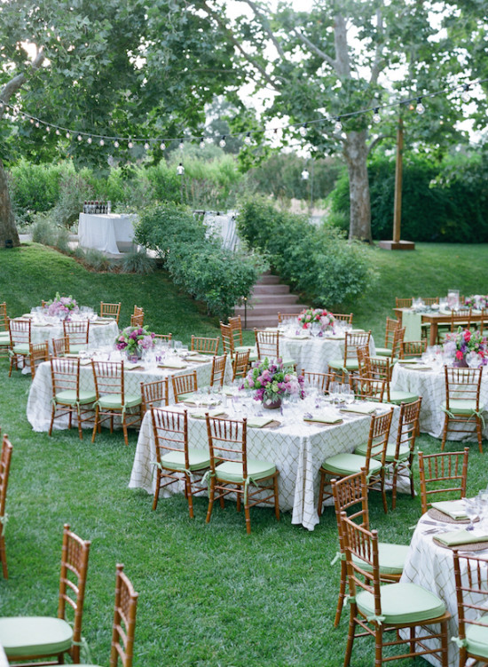 garden reception in purple and green