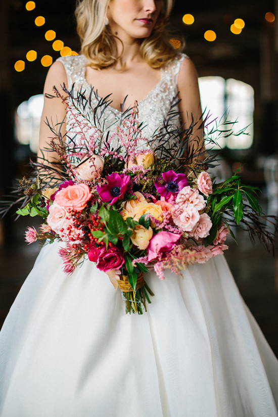 Colorful pink and blush wedding bouquet