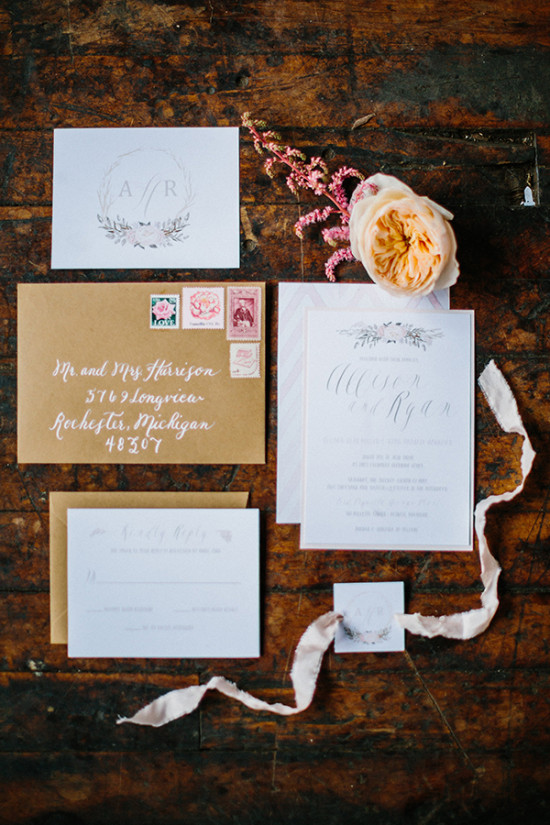 Chic wedding invitation suite