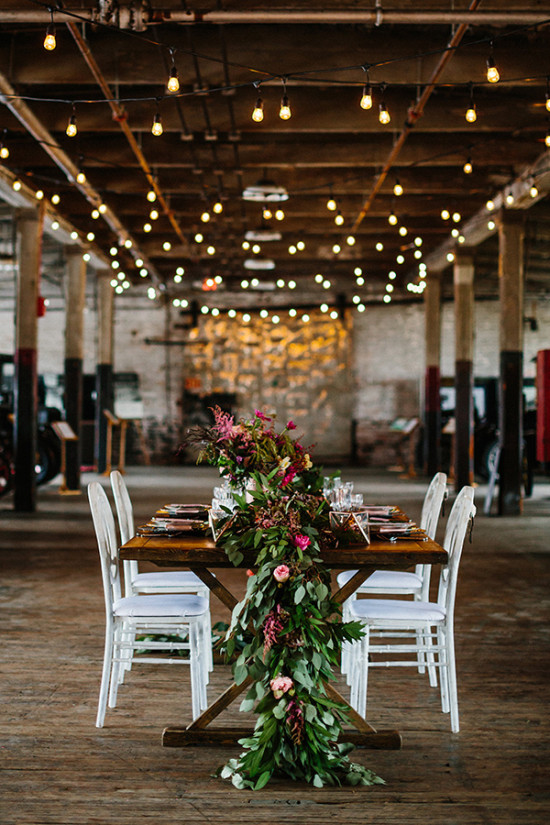 Wedding reception table and lighting idea