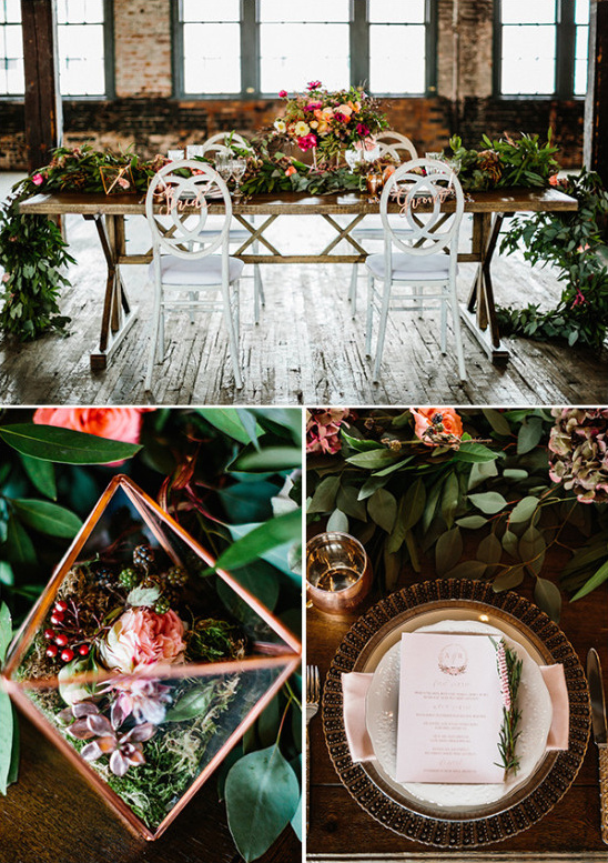 Rustic and floral table decor and details